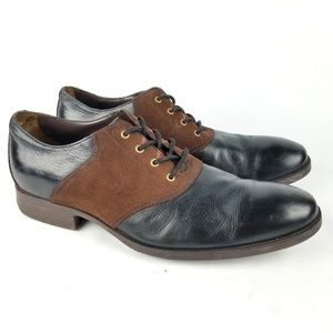 Cole Haan Copley Suede Saddle Oxford Brown Leather